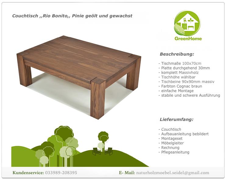 Couchtisch Rio Bonito Massivholz Tisch 100x70cm Pinie