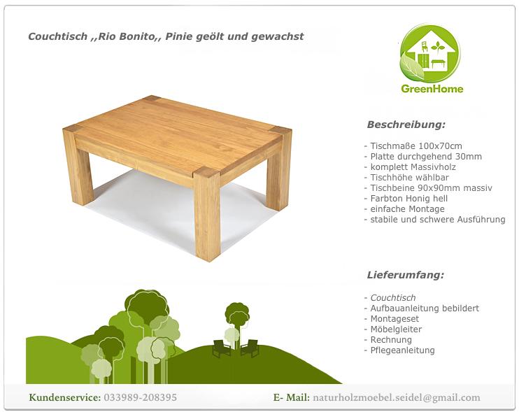 Couchtisch beistelltisch wohnzimmer massivholz 100x70cm for Couchtisch pinie