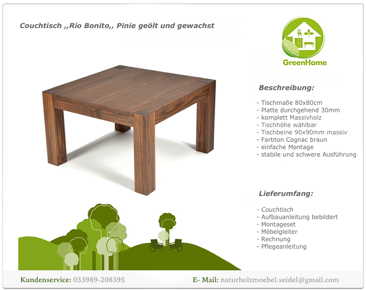 Couchtisch Rio Bonito Wohnzimmer Massivholz Tisch 80×80
