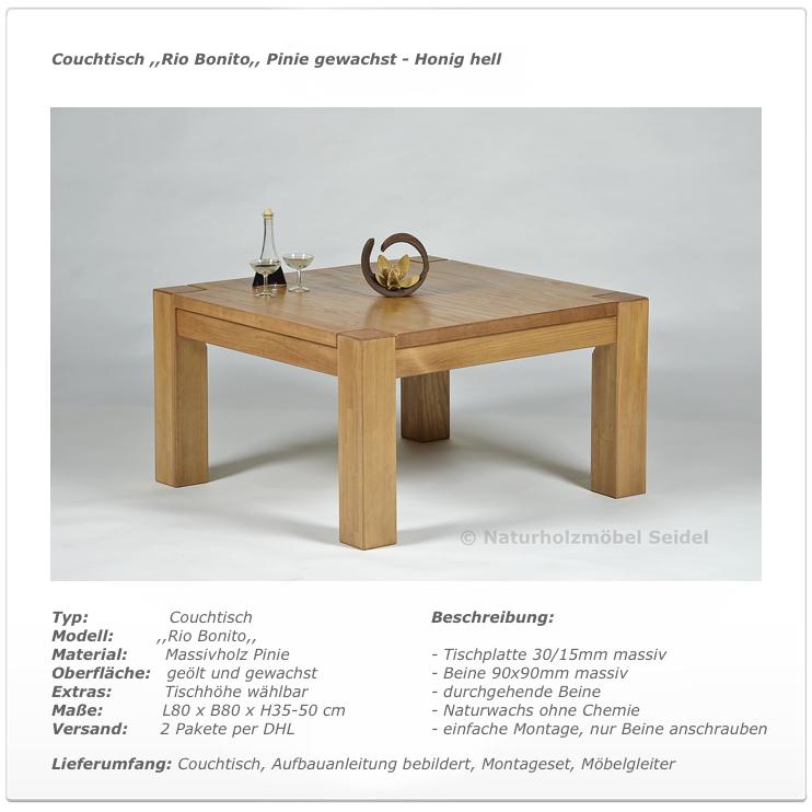 Couchtisch Rio Bonito Massivholz Tisch 80×80 Pinie Honig hell