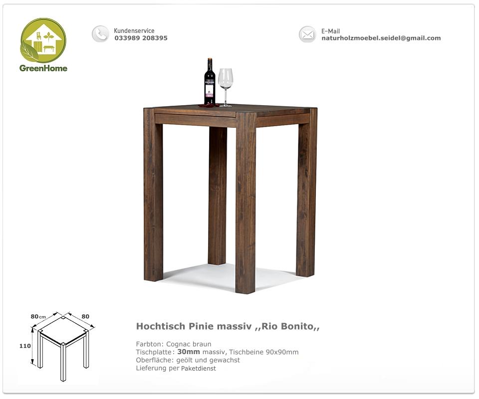 hochtisch stehtisch bartisch bistrotisch 80x80x110 massivholz pinie cognac braun. Black Bedroom Furniture Sets. Home Design Ideas