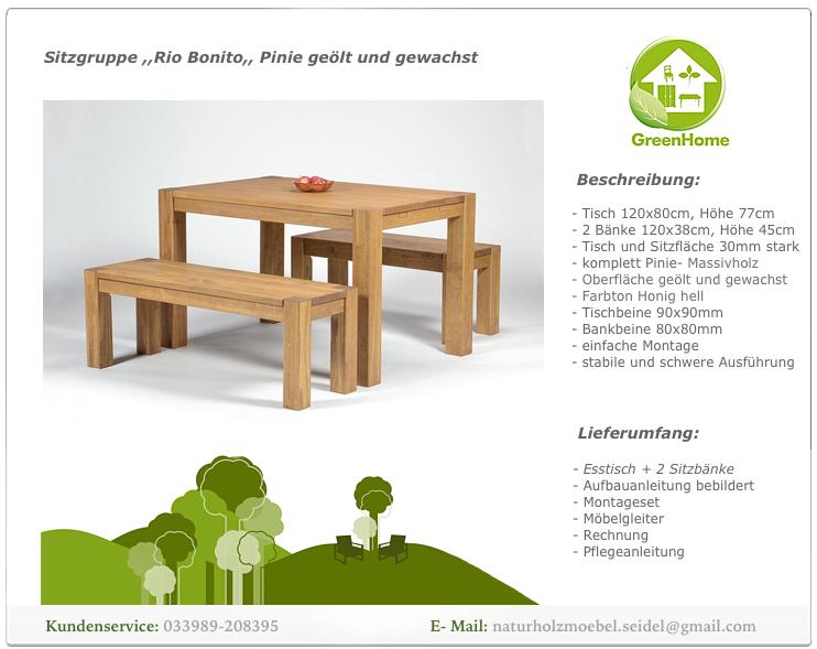 sitzgruppe mit esstisch 120x80cm 2x sitzbank 120x38cm pinie bank honig hell ebay. Black Bedroom Furniture Sets. Home Design Ideas