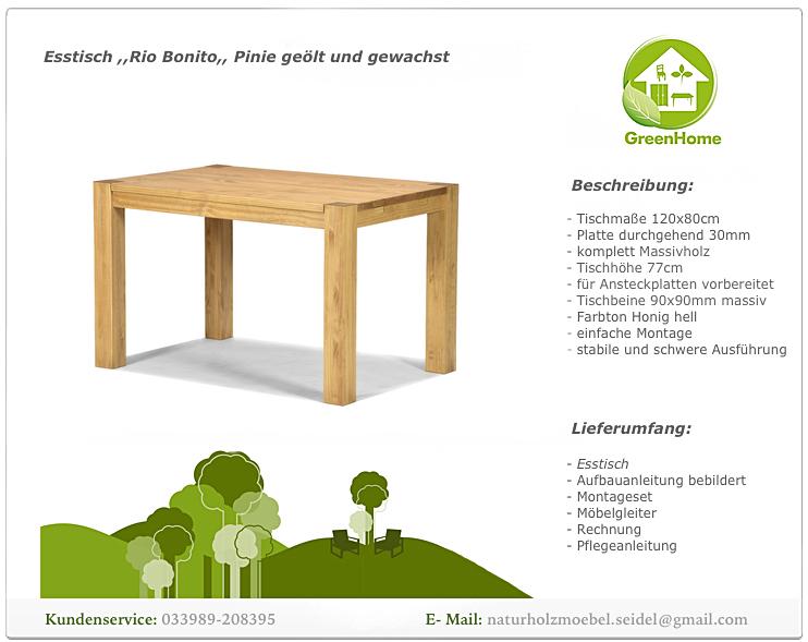 Esstisch Rio Bonito Massivholz Tisch 120x80cm Pinie Honig Hell