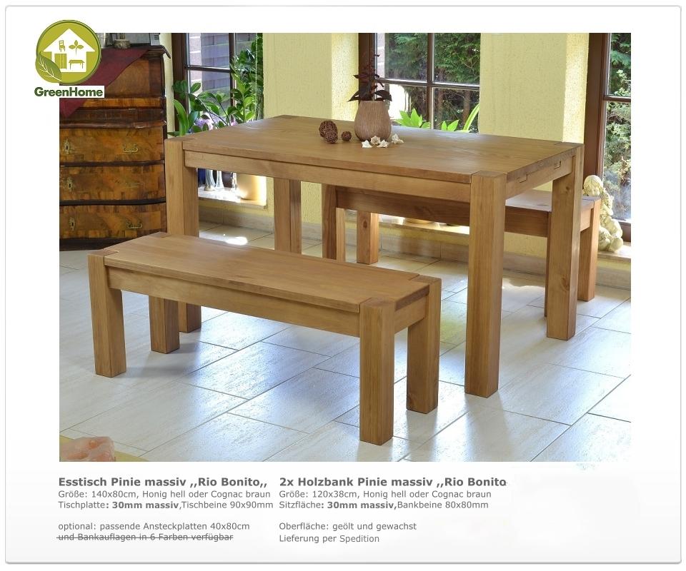 esstisch 140x80cm 2x sitzbank 120x38cm massivholz pinie bank honig o cognac ebay. Black Bedroom Furniture Sets. Home Design Ideas