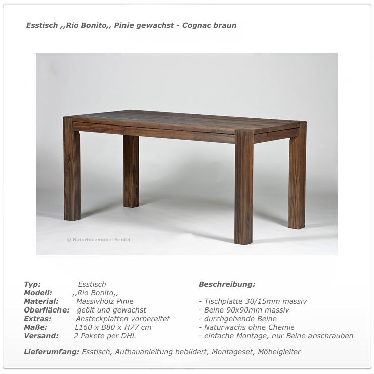 esstisch esszimmer massivholz tisch 160x80cm pinie ge lt gewachst cognac braun ebay. Black Bedroom Furniture Sets. Home Design Ideas