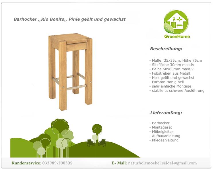 barhocker 35x35x75cm mit metallstreben massivholz pinie honig hell f hochtisch ebay. Black Bedroom Furniture Sets. Home Design Ideas