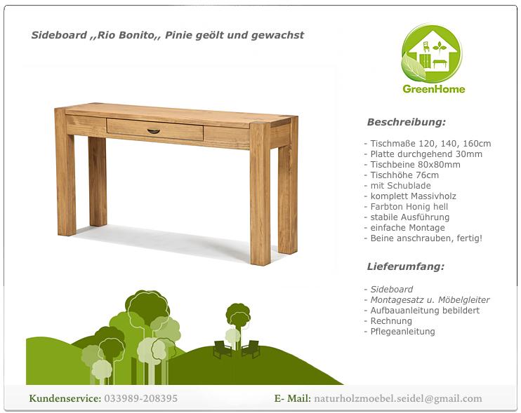 Sideboard Konsole Anrichte Schreibtisch Wandtisch Pinie ...