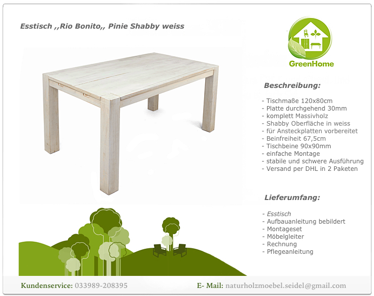 esstisch shabby madeira stil weiss rio bonito 120x80 pinie massivholz vintage 4260355972438 ebay. Black Bedroom Furniture Sets. Home Design Ideas