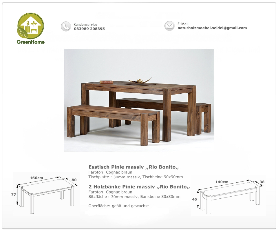 Sitzgruppe Rio Bonito Tisch 160x80cm +2 Bänke 140cm Pinie